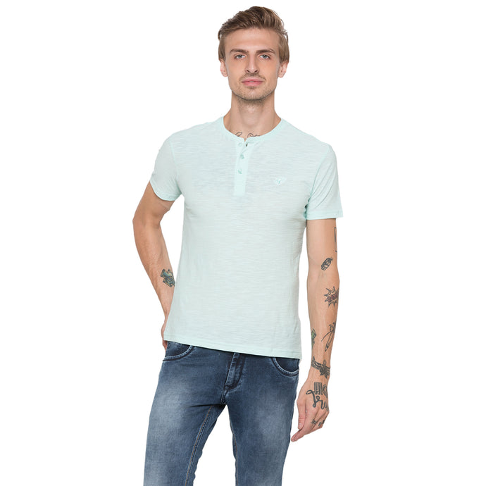 Globus Green Self Design Henley T-Shirt-1