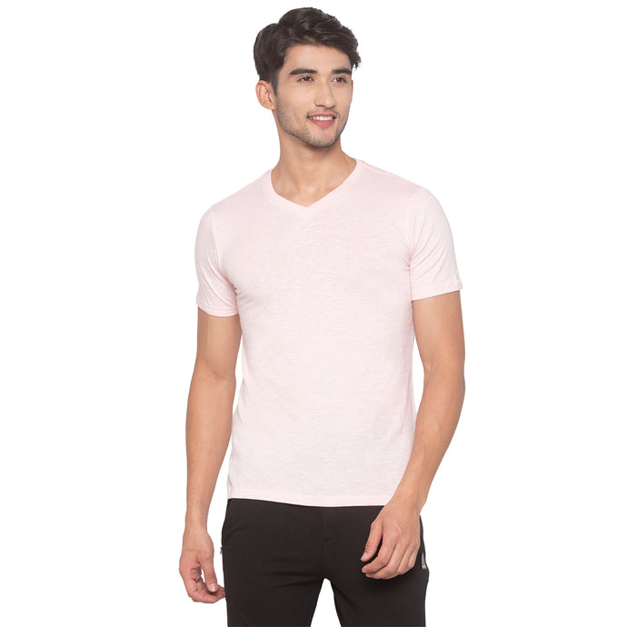 Powder Pink Solid T-Shirt-1