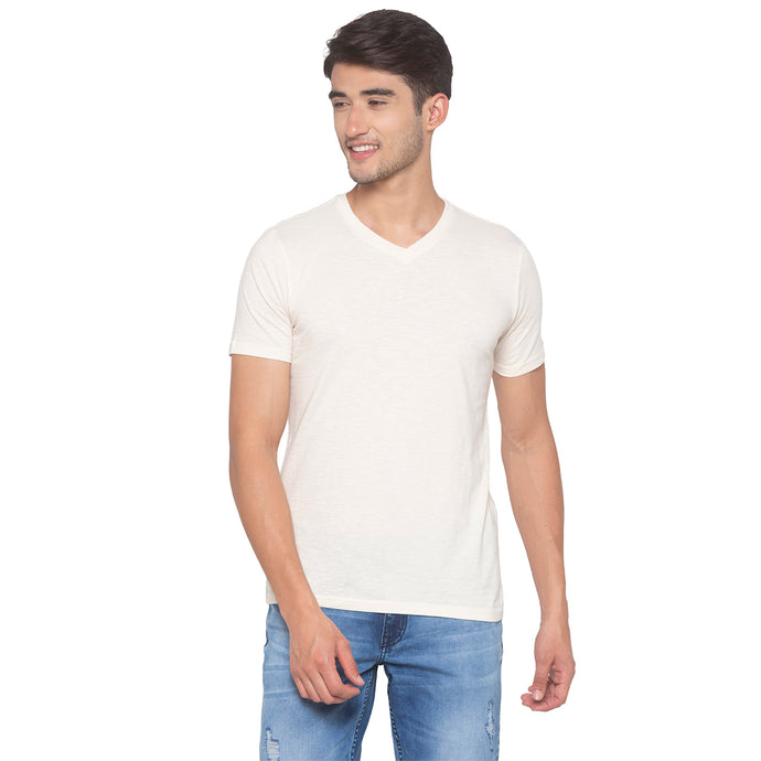 Light Beige Solid T-Shirt-1