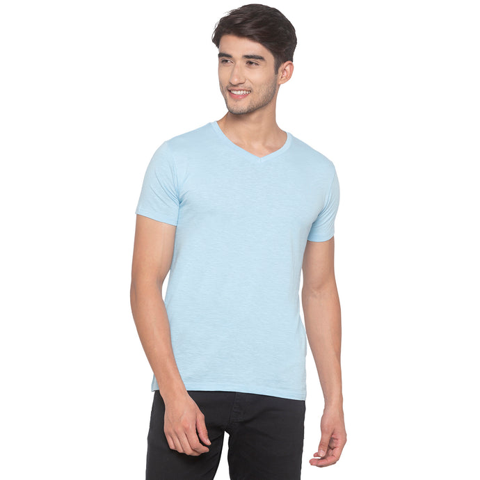 Sky Blue Solid T-Shirt-1