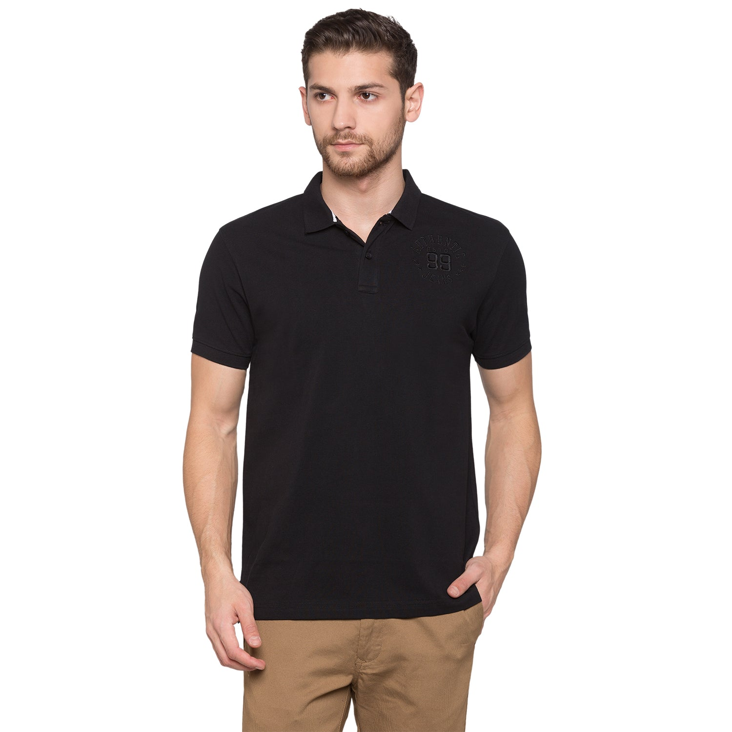 Globus Black Solid Polo T-Shirt1