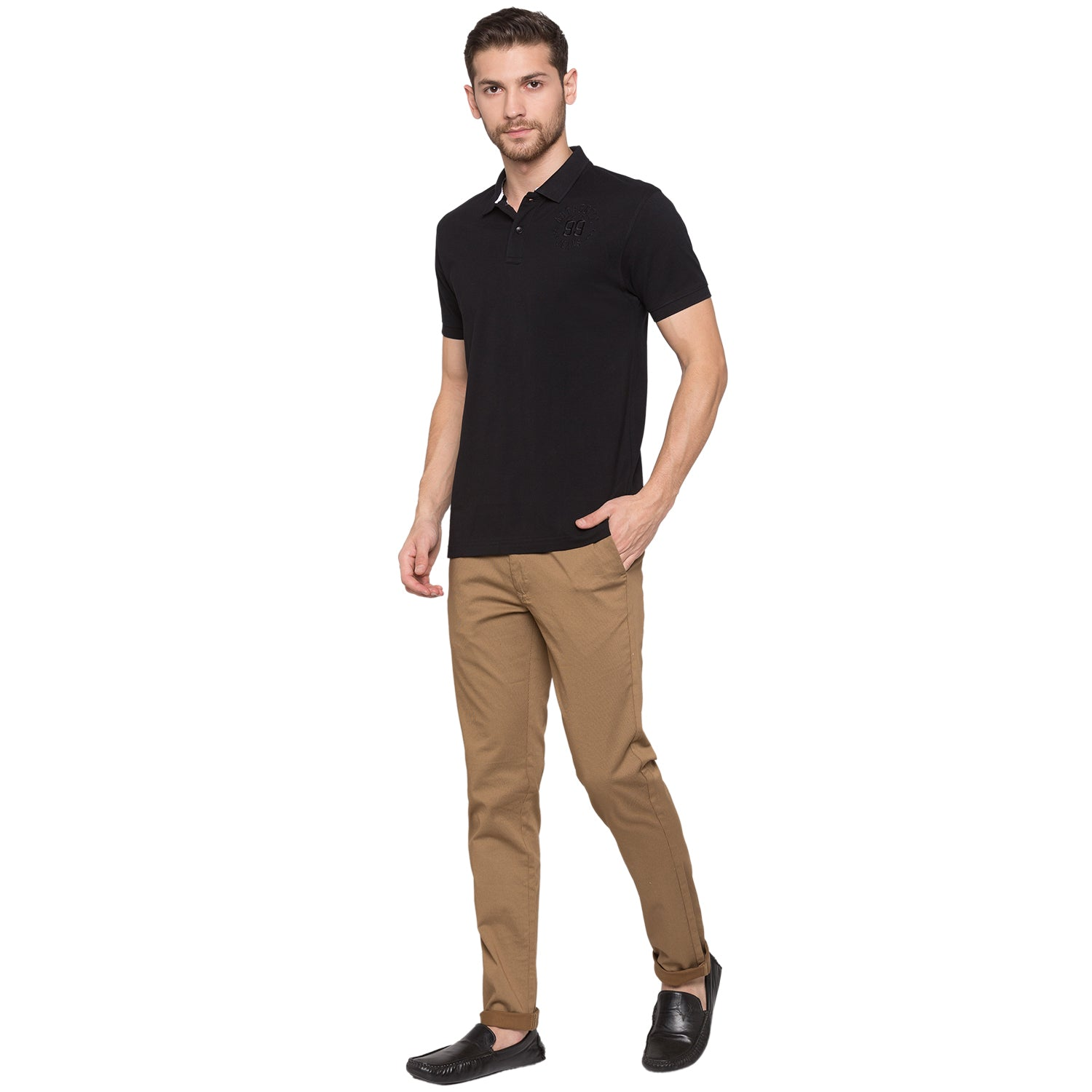 Globus Black Solid Polo T-Shirt4