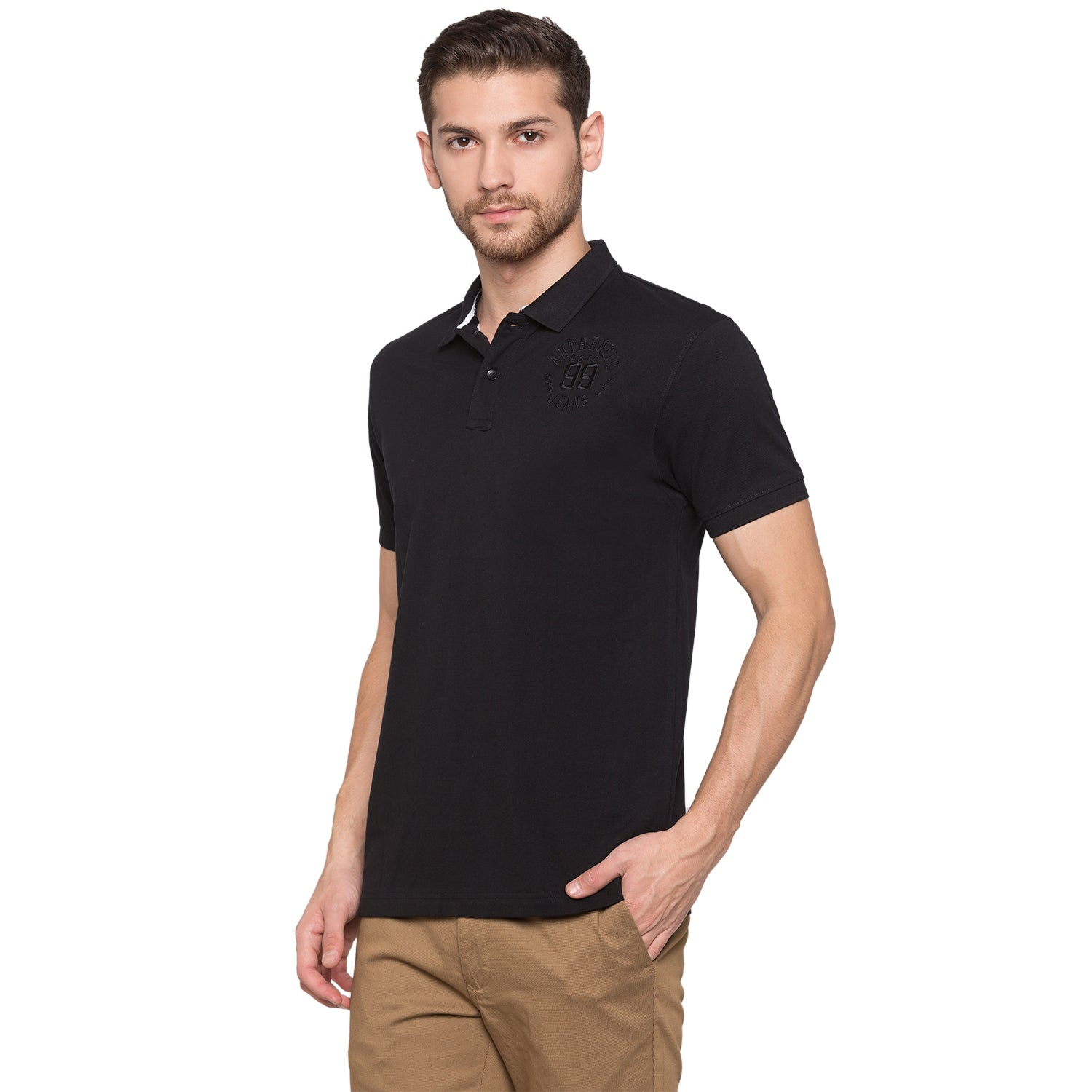 Globus Black Solid Polo T-Shirt2