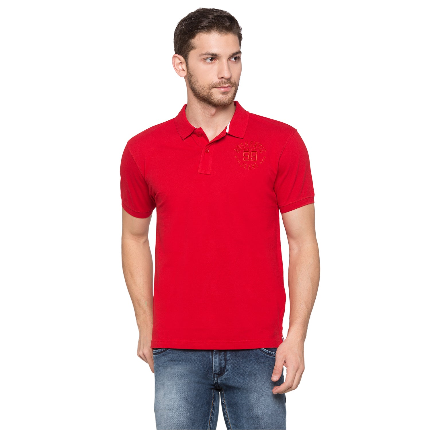 Globus Red Solid Polo T-Shirt1