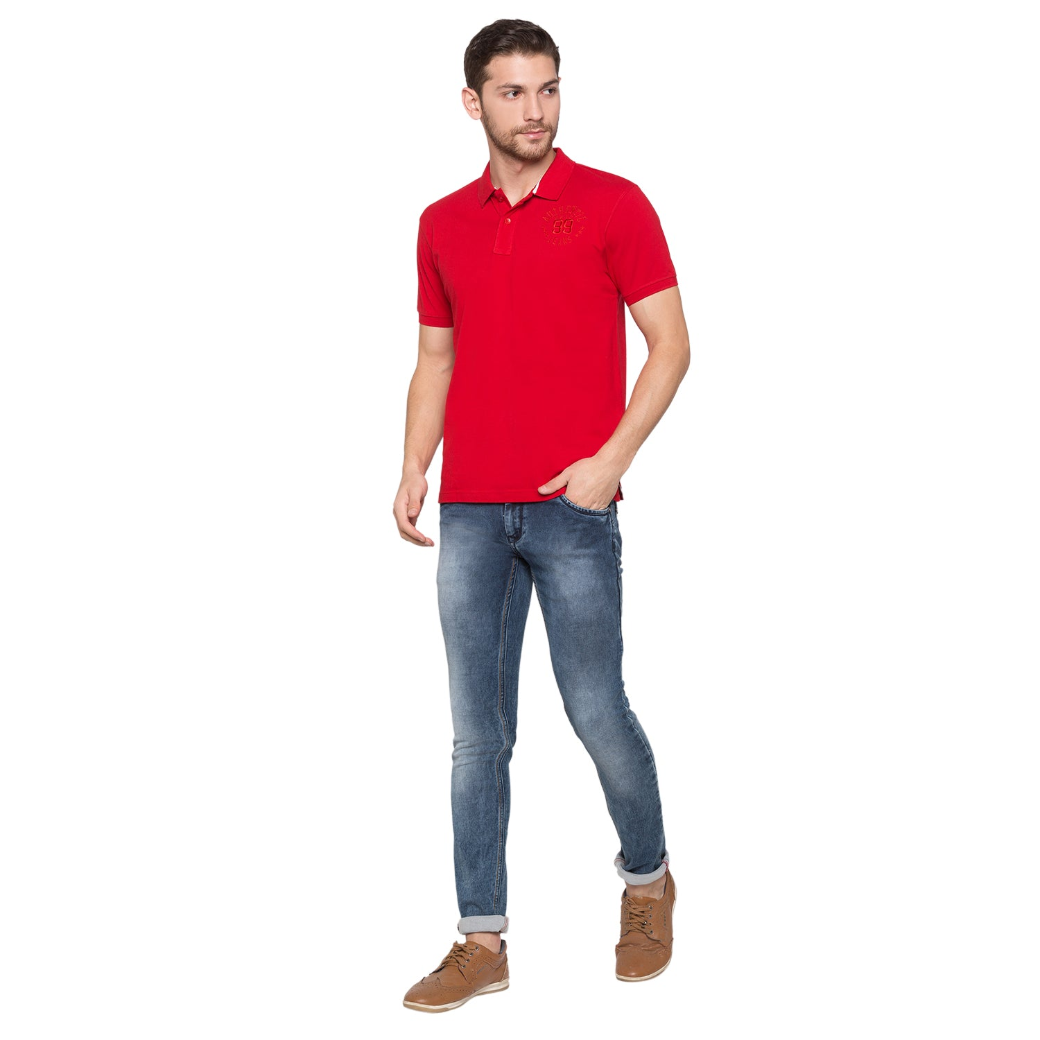 Globus Red Solid Polo T-Shirt4