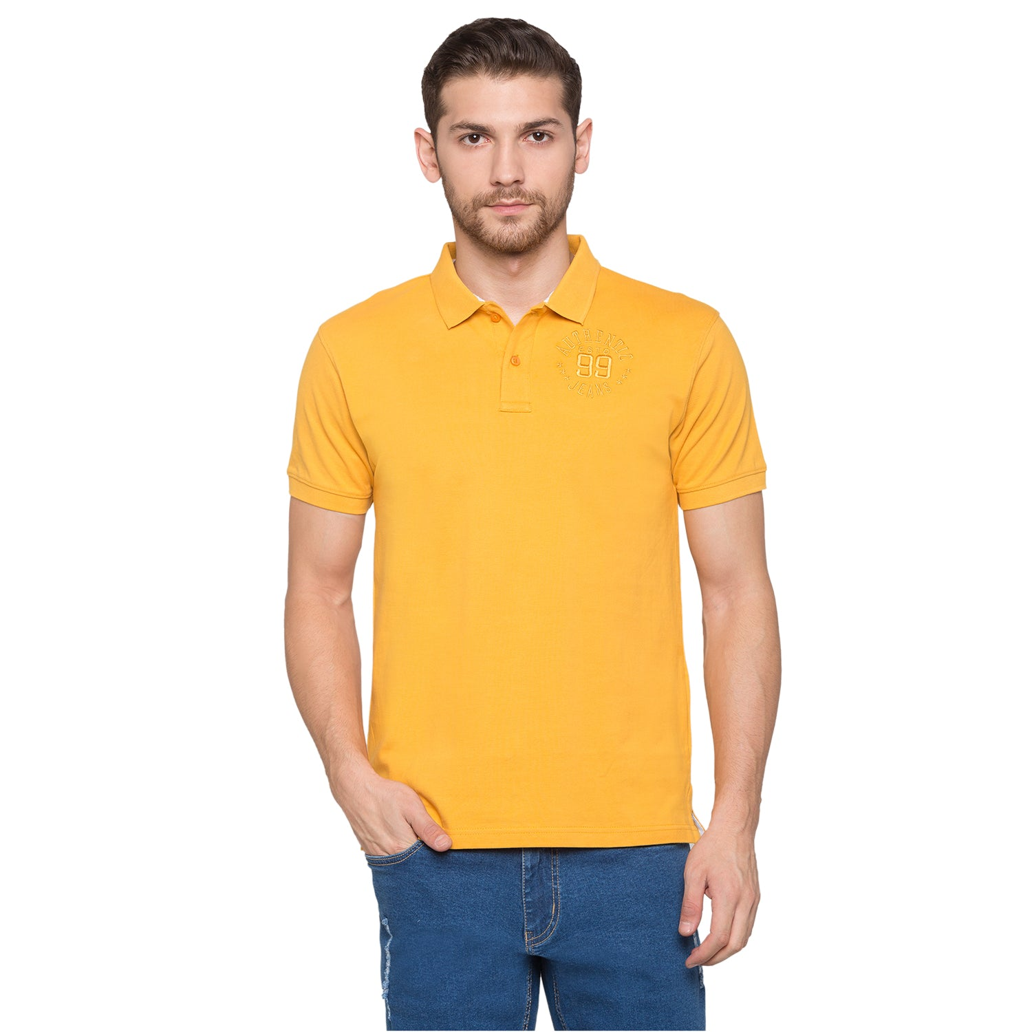 Globus Mustard Solid Polo T-Shirt1