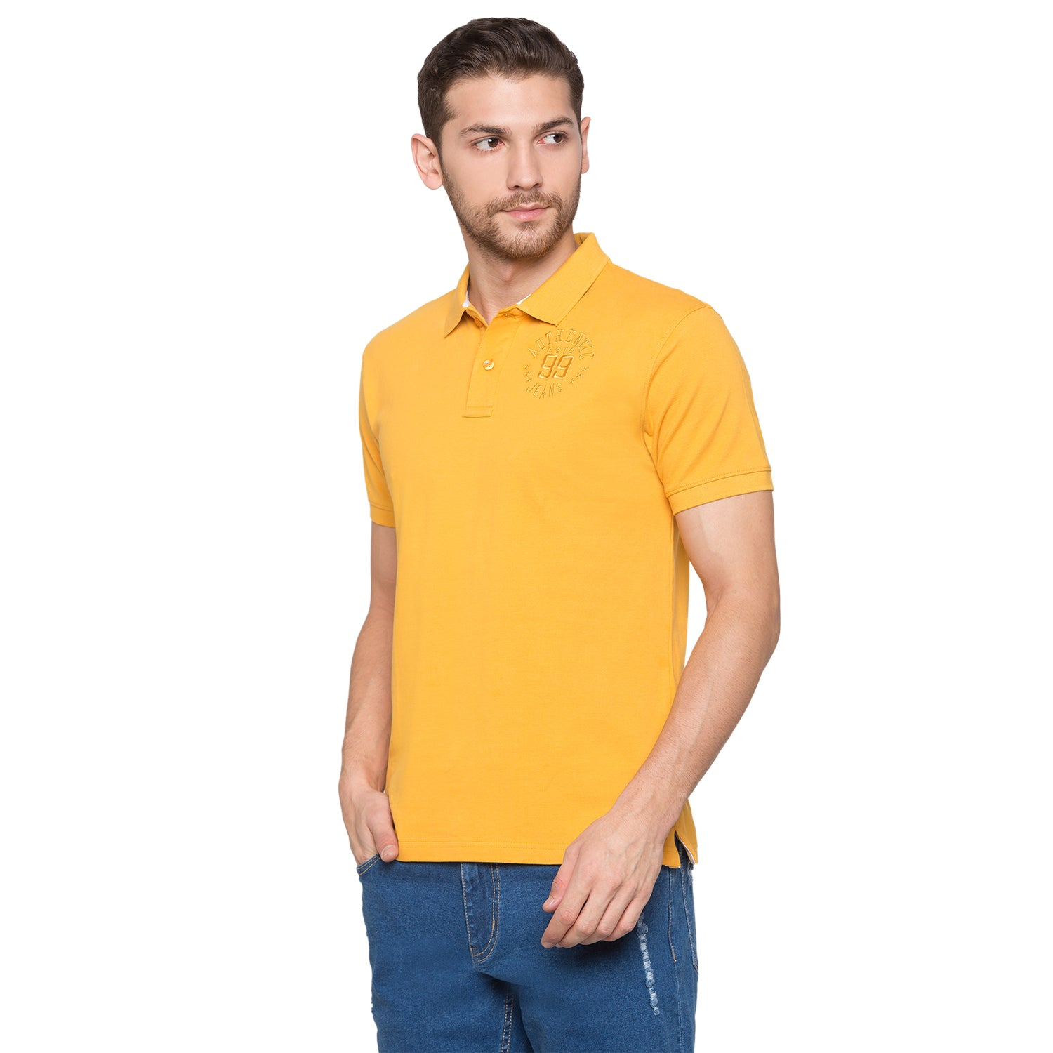 Globus Mustard Solid Polo T-Shirt2