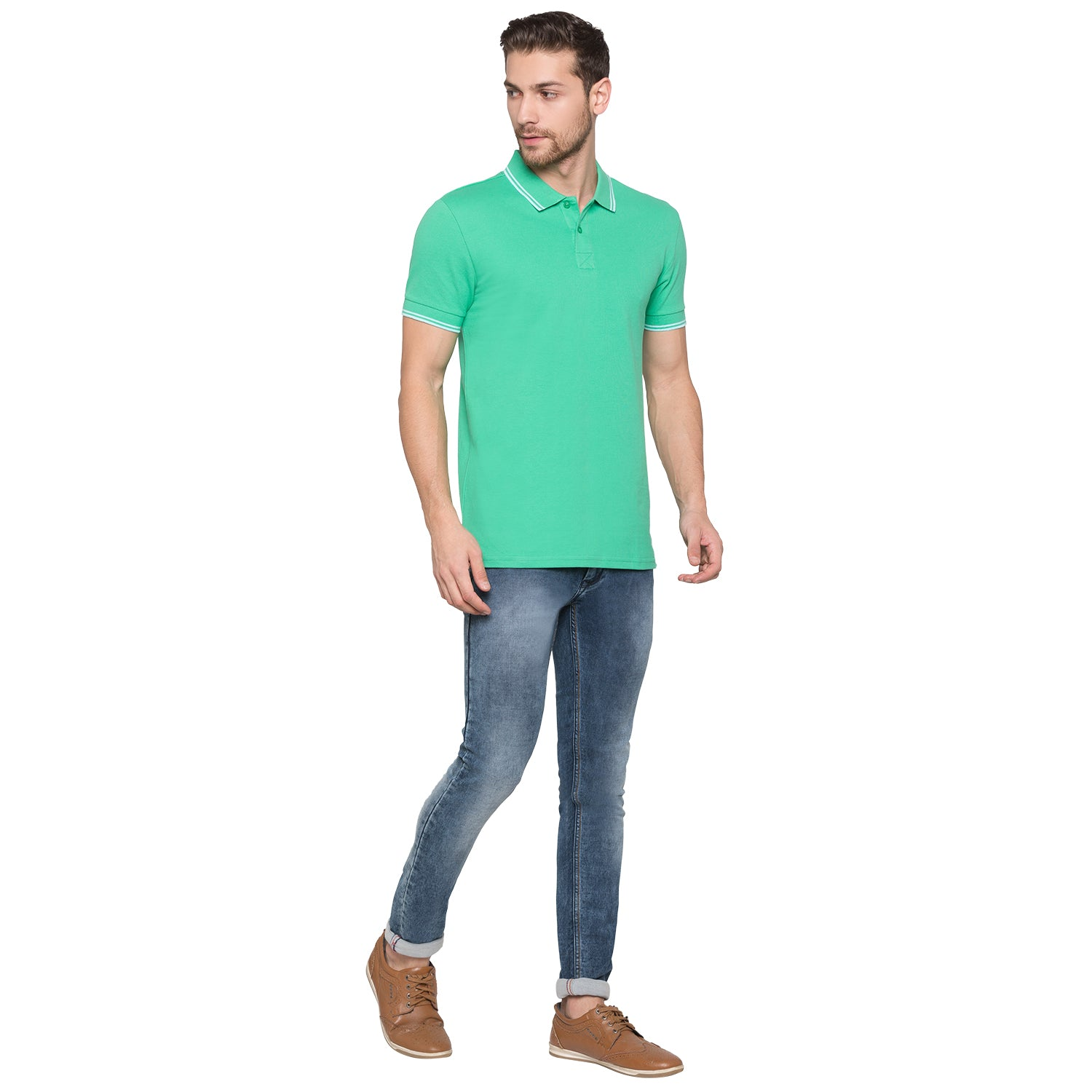 Globus Green Solid Polo T-Shirt4