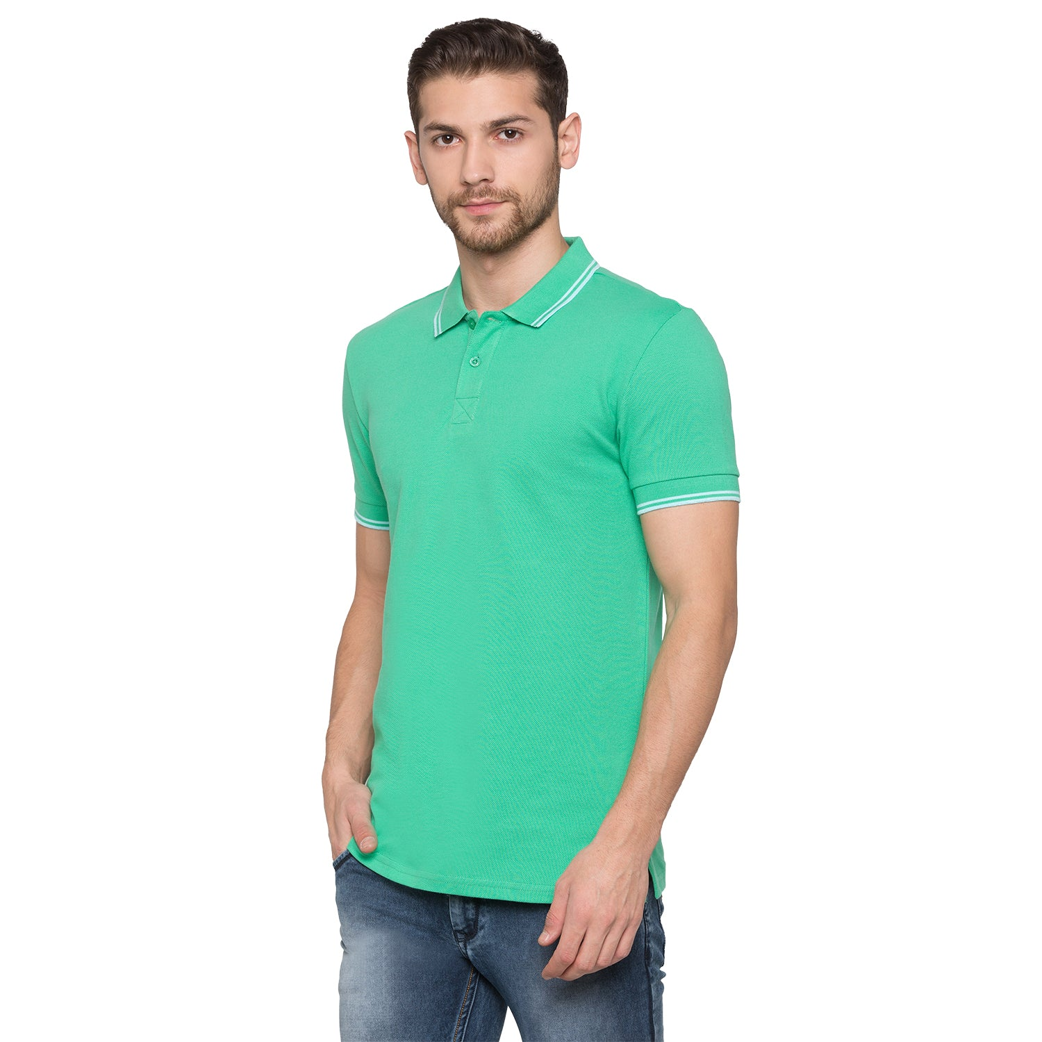 Globus Green Solid Polo T-Shirt2