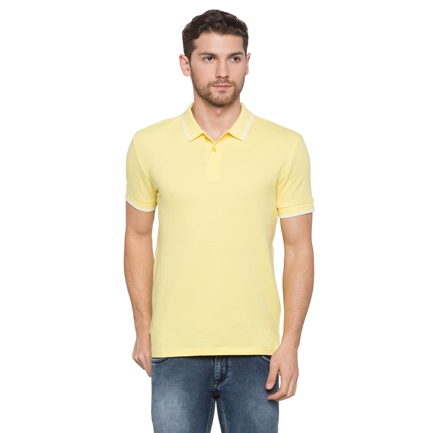 Globus Yellow Solid Polo T-Shirt1