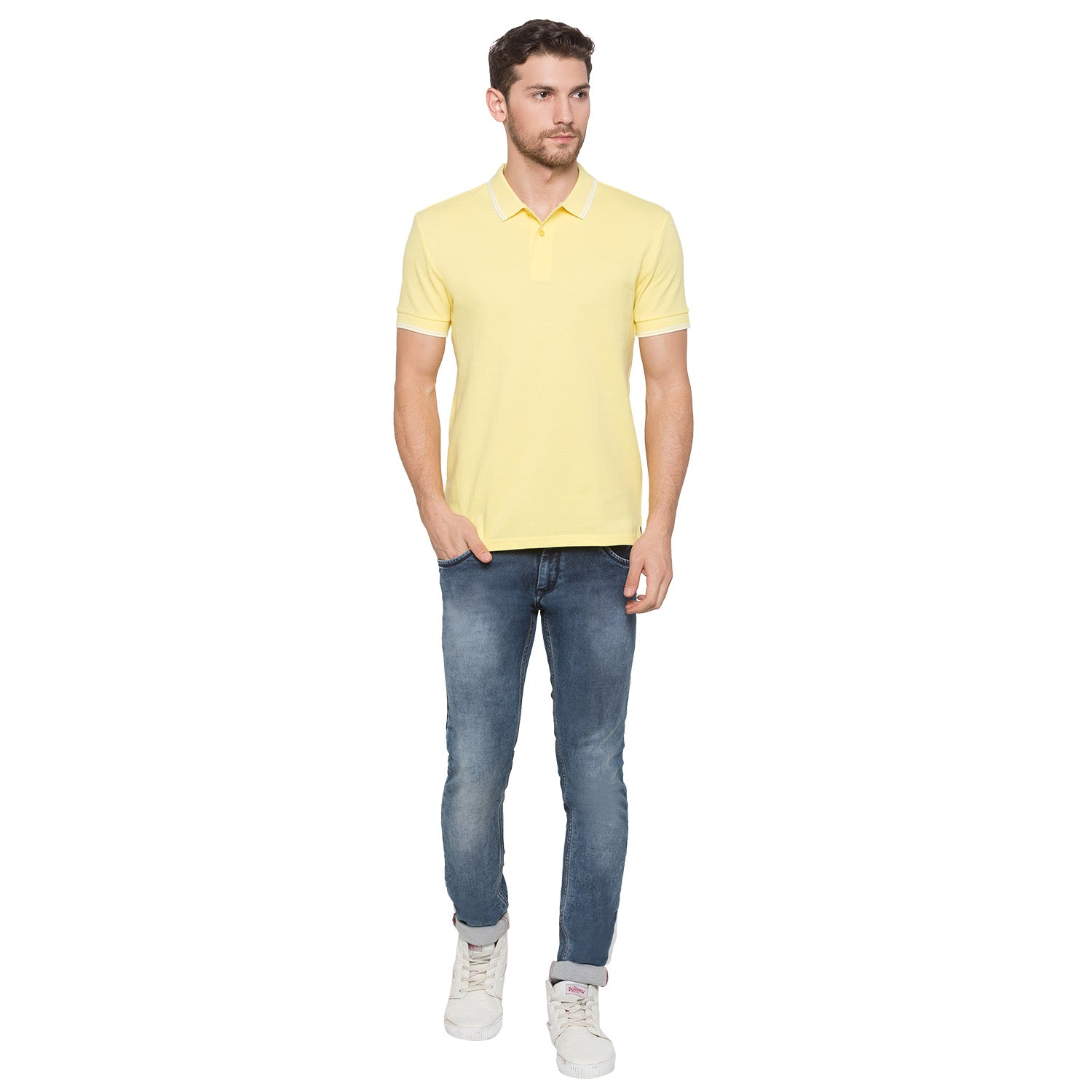 Globus Yellow Solid Polo T-Shirt4
