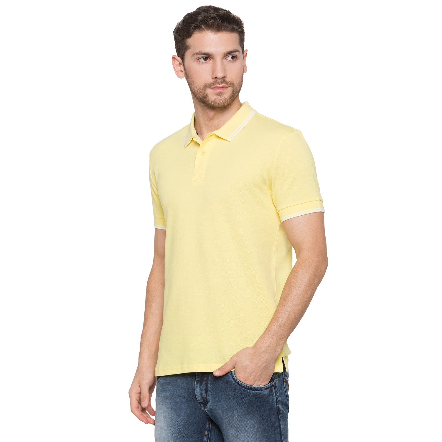 Globus Yellow Solid Polo T-Shirt2