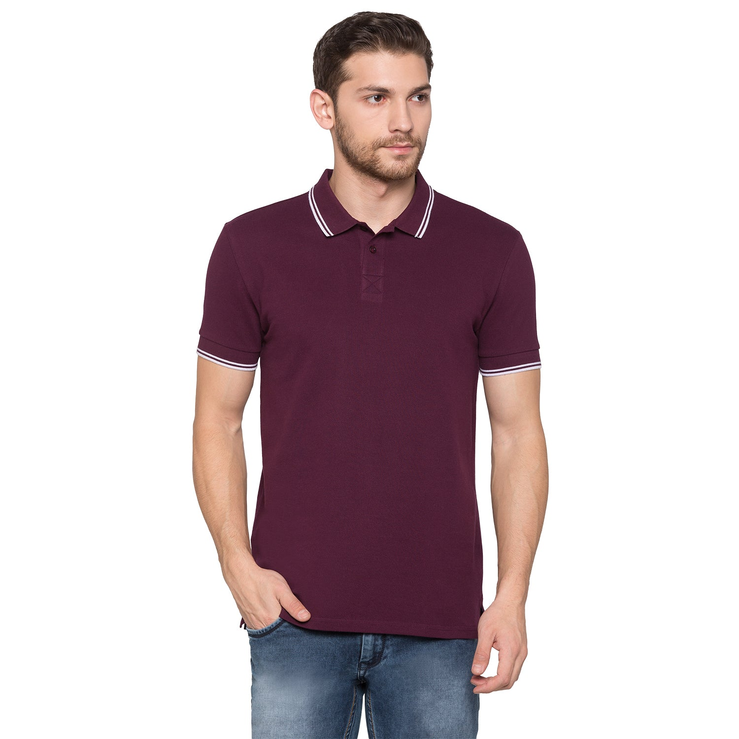 Globus Maroon Solid Polo T-Shirt1