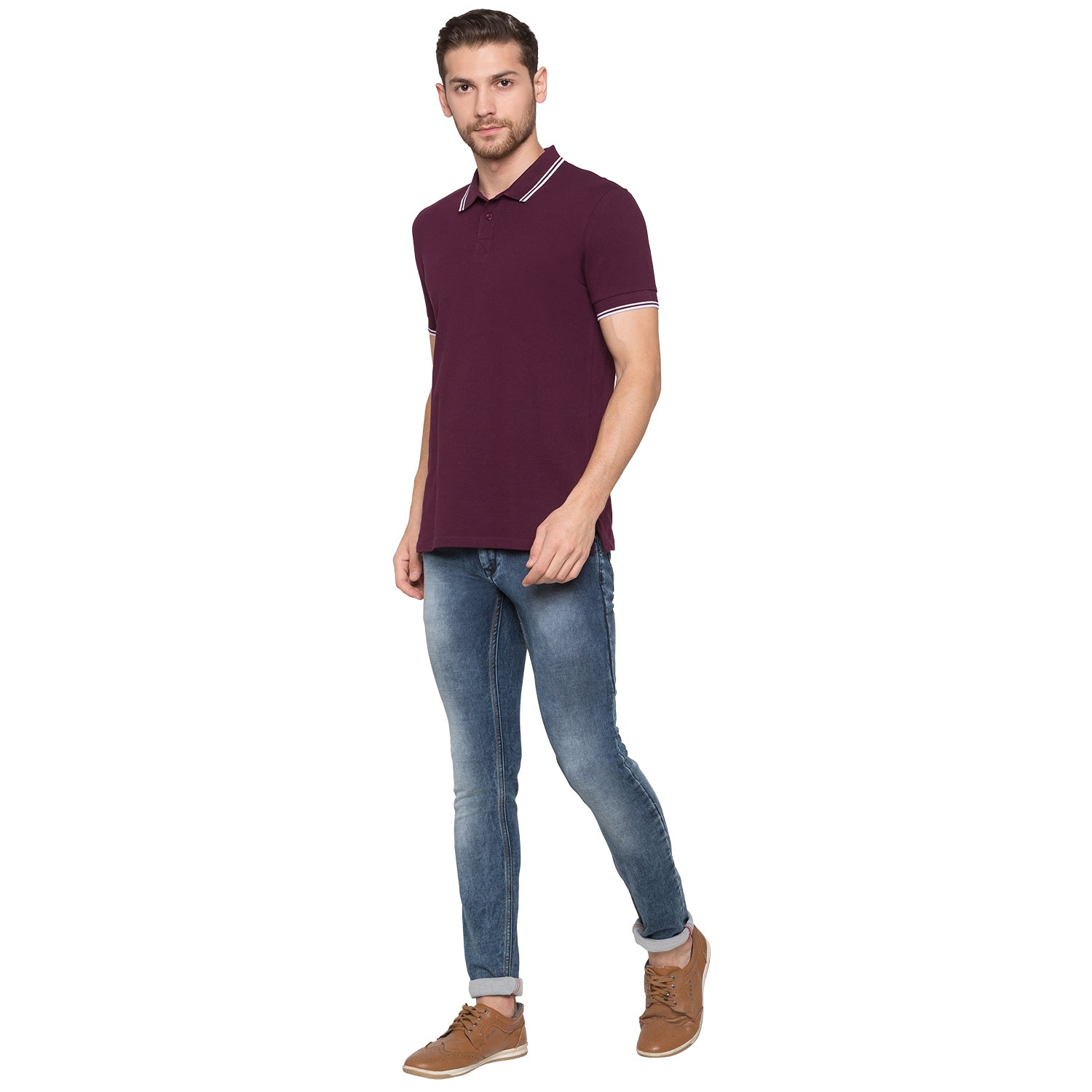 Globus Maroon Solid Polo T-Shirt4
