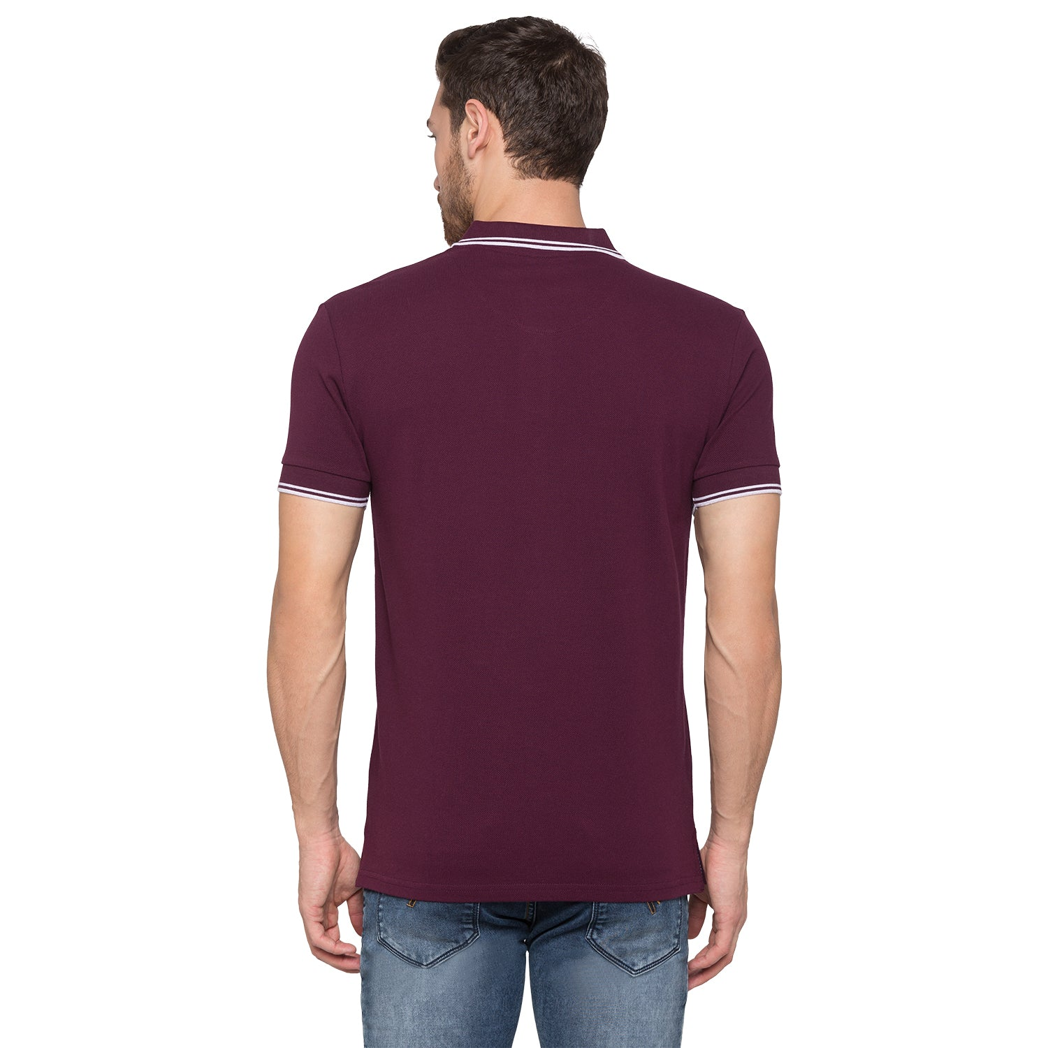 Globus Maroon Solid Polo T-Shirt3
