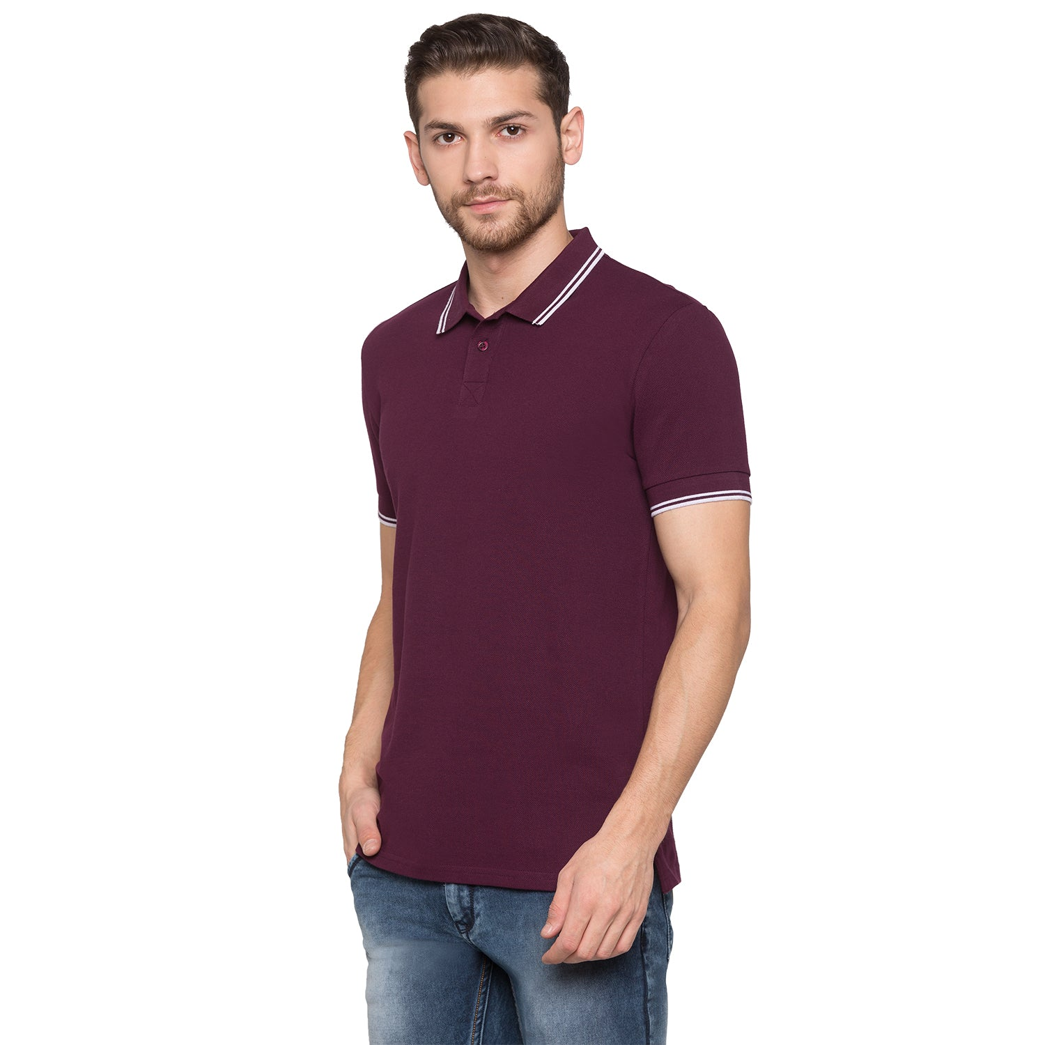 Globus Maroon Solid Polo T-Shirt2
