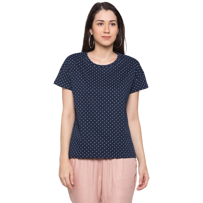 Globus Navy Blue Printed Top1