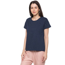 Load image into Gallery viewer, Globus Navy Blue Printed Top2