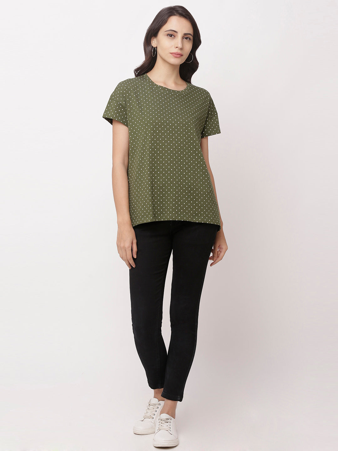 Globus Green Round Neck Printed Top-1