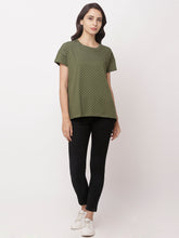 Load image into Gallery viewer, Globus Green Round Neck Printed Top-1