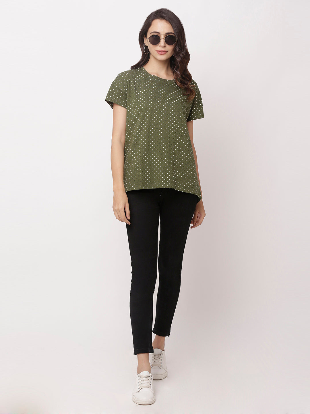 Globus Green Round Neck Printed Top-5