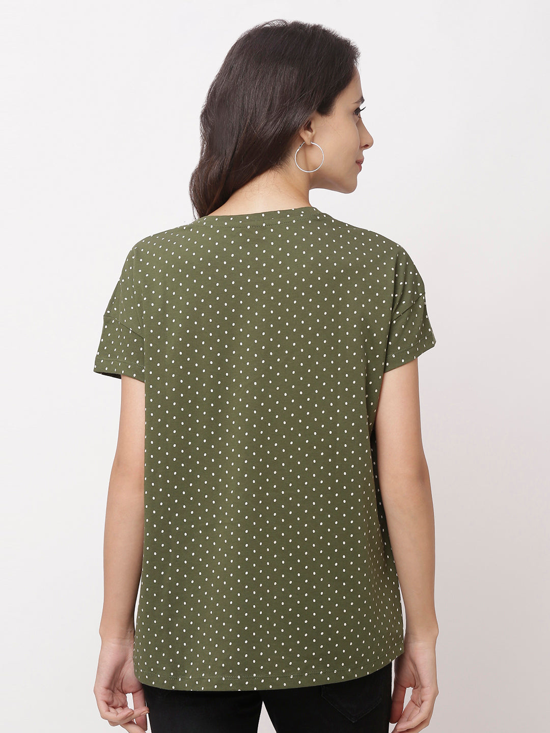 Globus Green Round Neck Printed Top-3