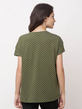 Load image into Gallery viewer, Globus Green Round Neck Printed Top-3