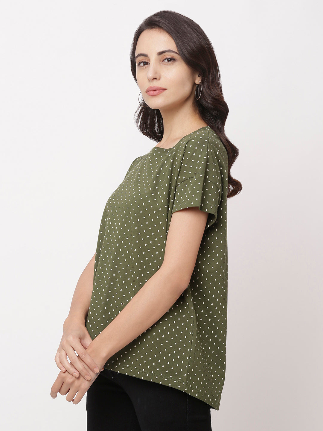 Globus Green Round Neck Printed Top-2