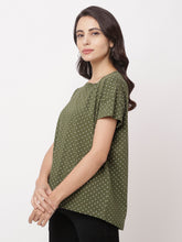 Load image into Gallery viewer, Globus Green Round Neck Printed Top-2