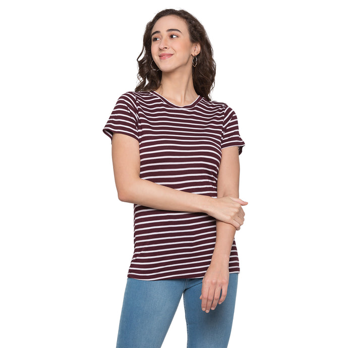 Globus Burgundy Striped Top1
