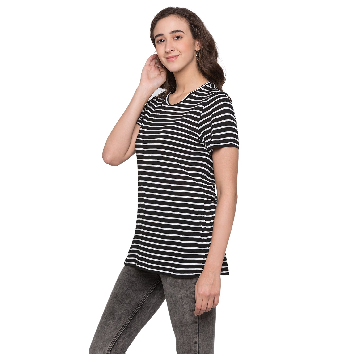 Globus Black & White Striped Top2