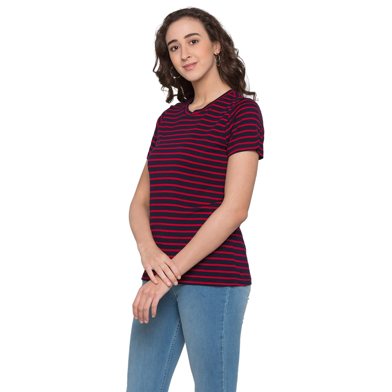 Globus Red & Navy Blue Striped Top2