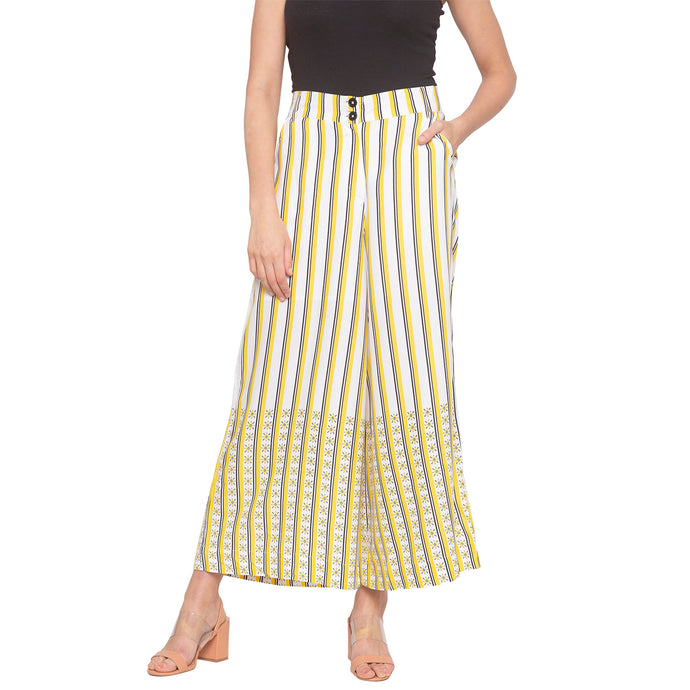 Mustard & White Striped Trousers-1