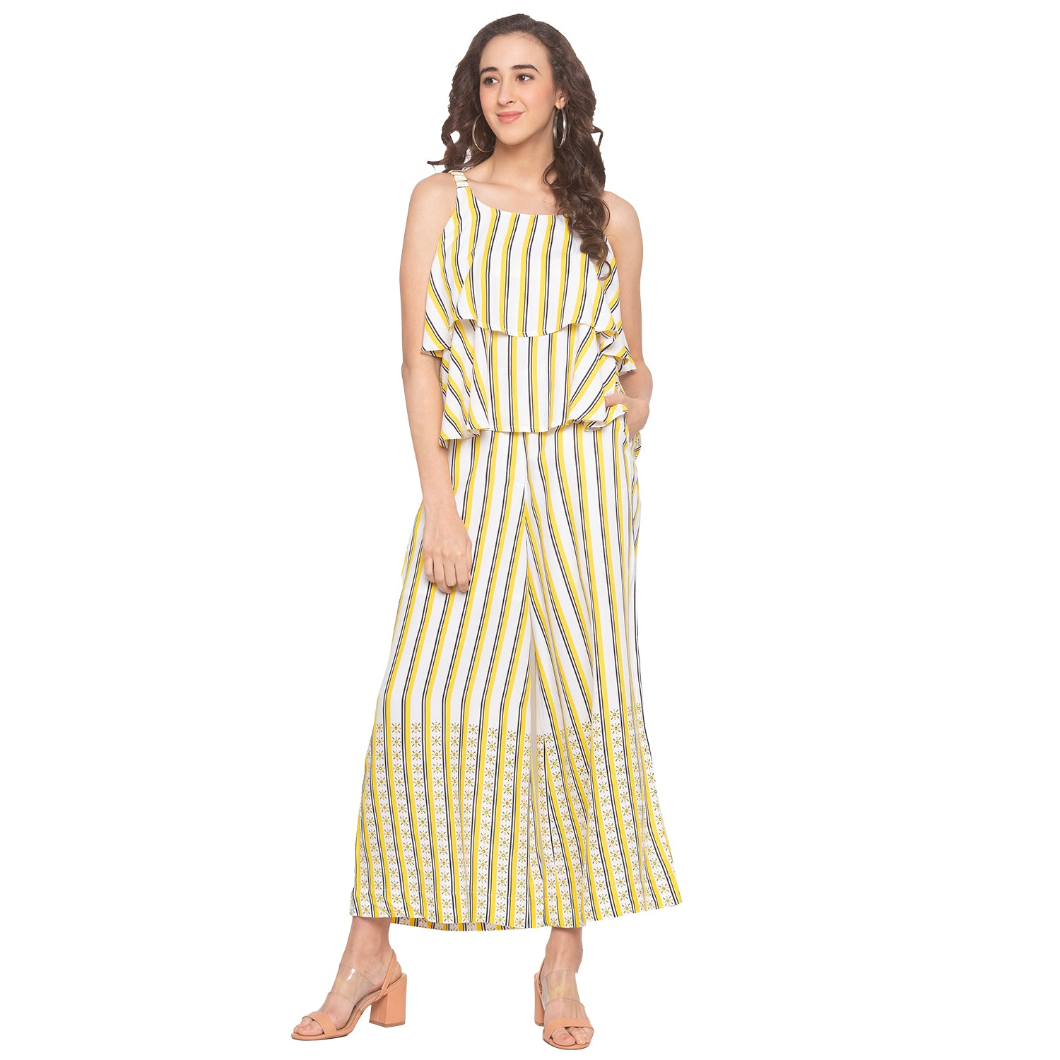 Mustard & White Striped Trousers-4