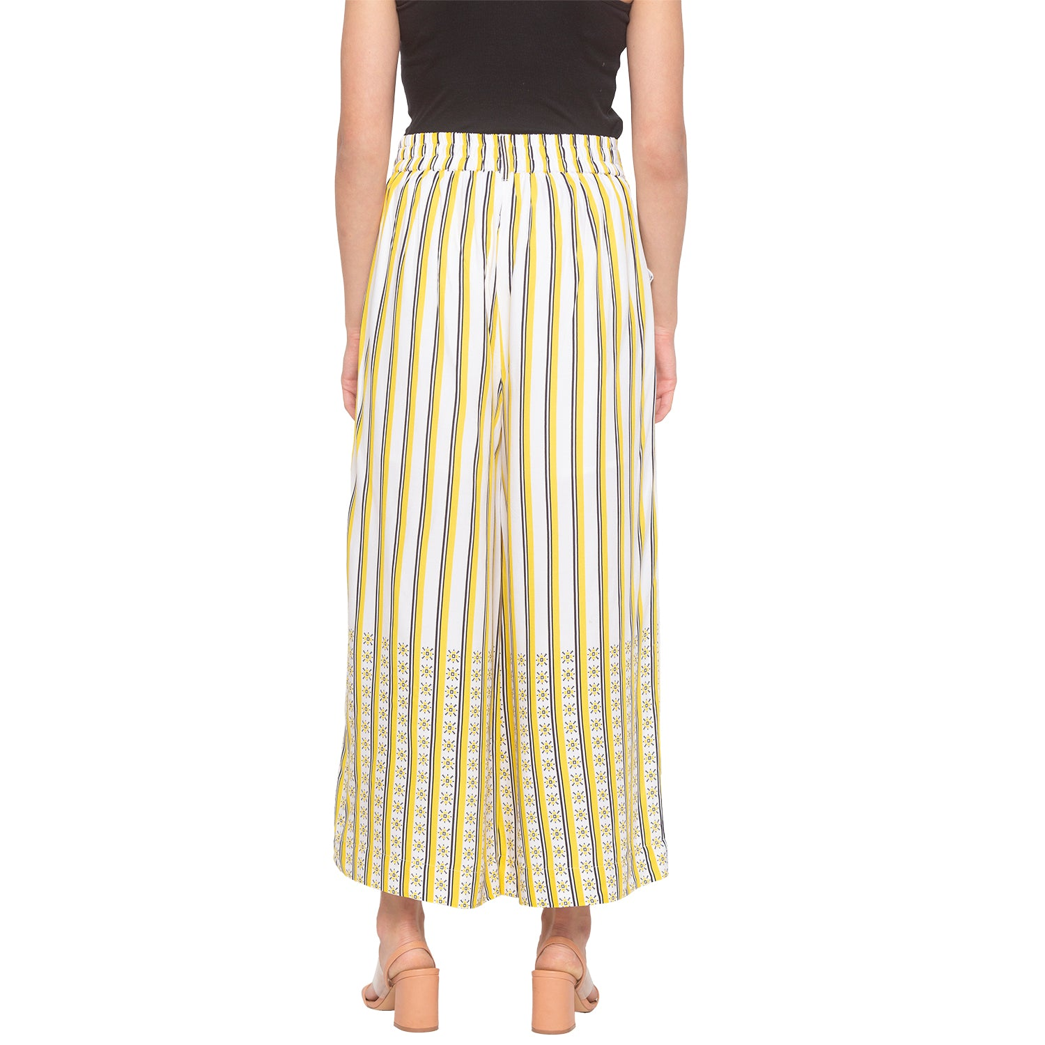 Mustard & White Striped Trousers-3