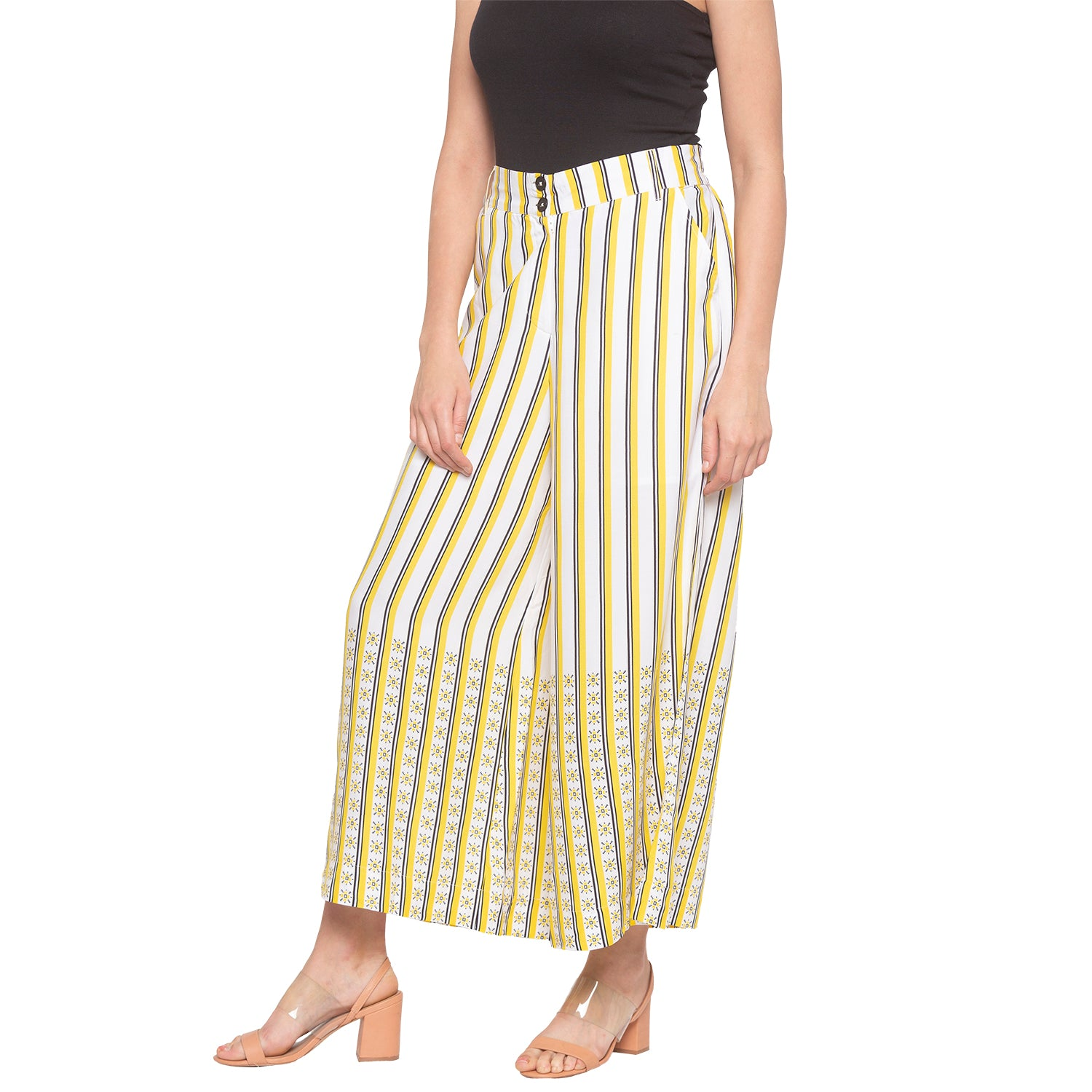 Mustard & White Striped Trousers-2