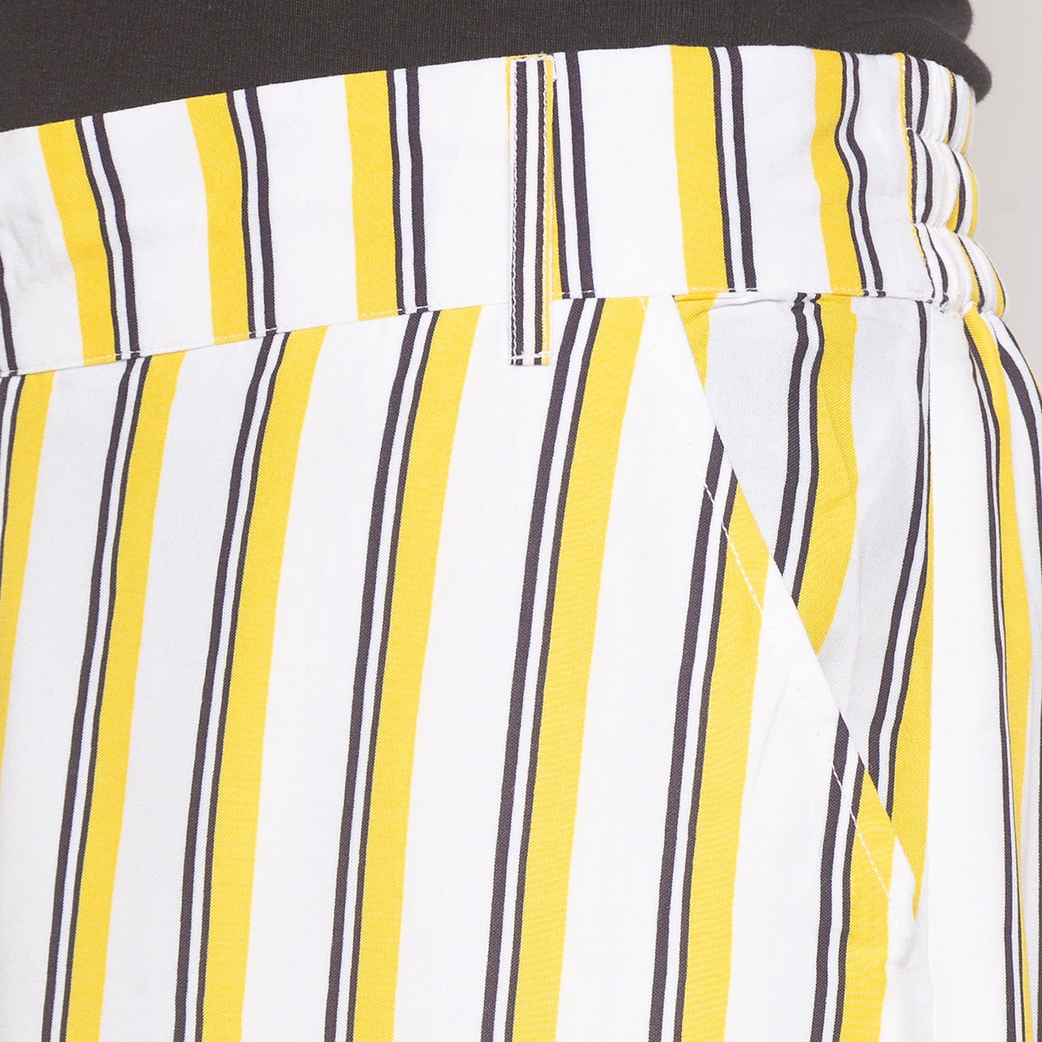Mustard & White Striped Trousers-5