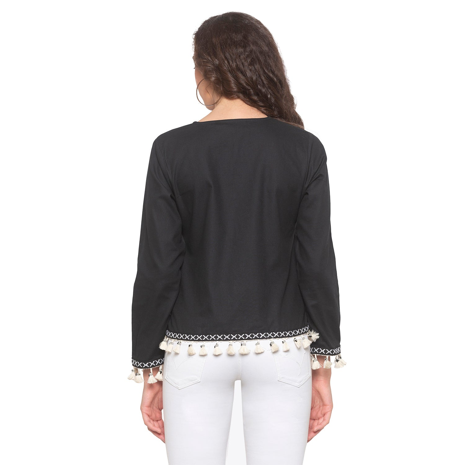 Black Solid Shrug-3