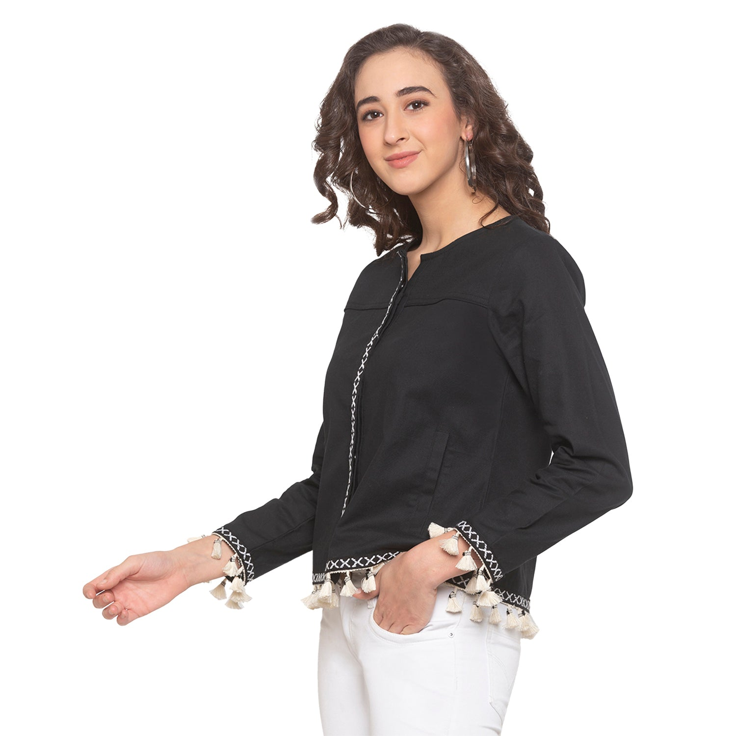 Black Solid Shrug-2