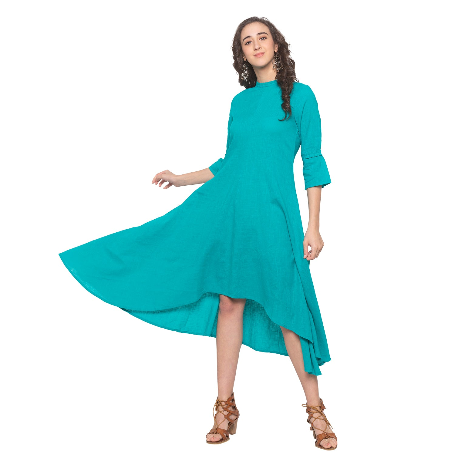Teal Solid Dress-1