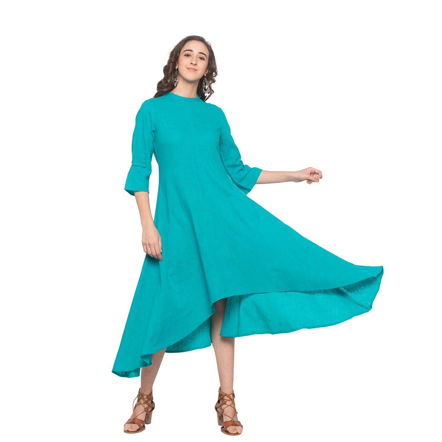 Teal Solid Dress-4