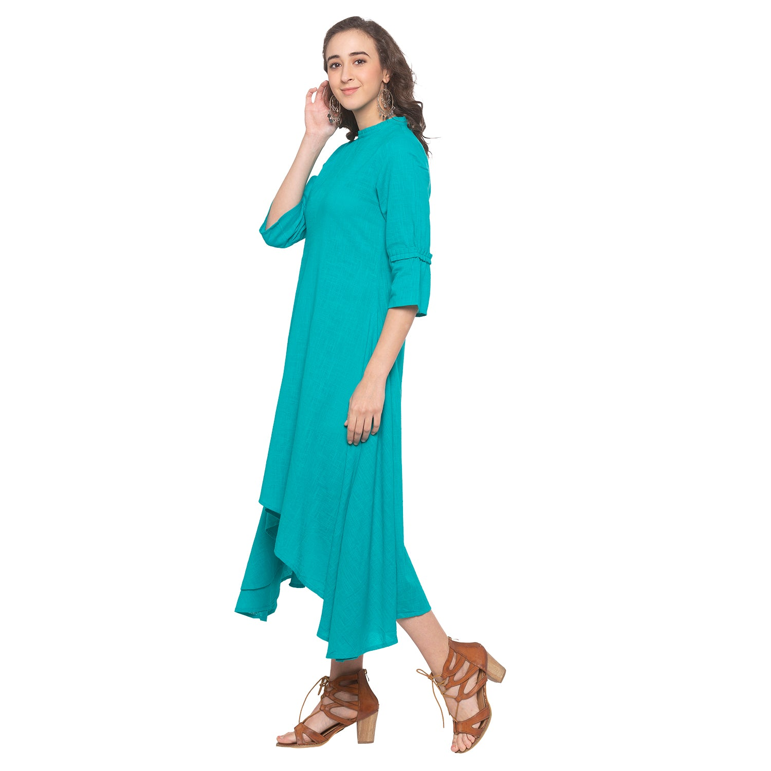 Teal Solid Dress-2