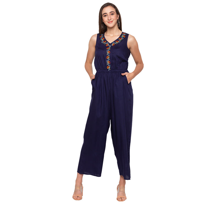Globus Navy Blue Embroidery Jumpsuit-1