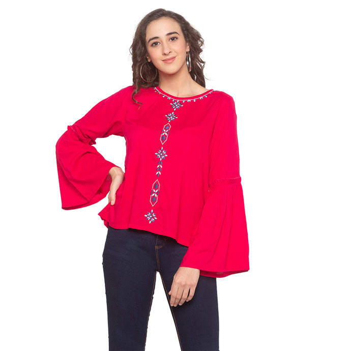 Pink Embroidered Top-1