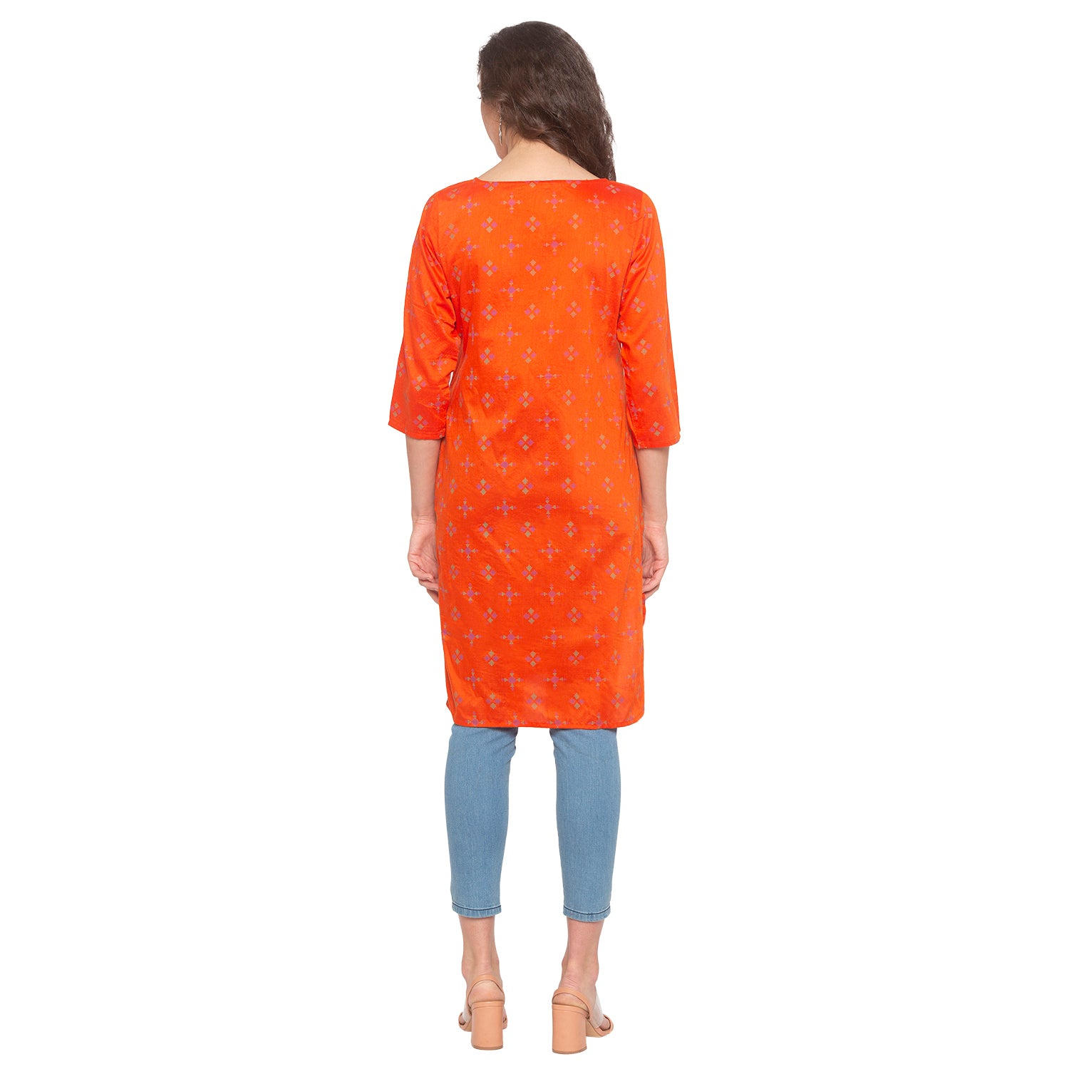 Orange Printed Kurta-3