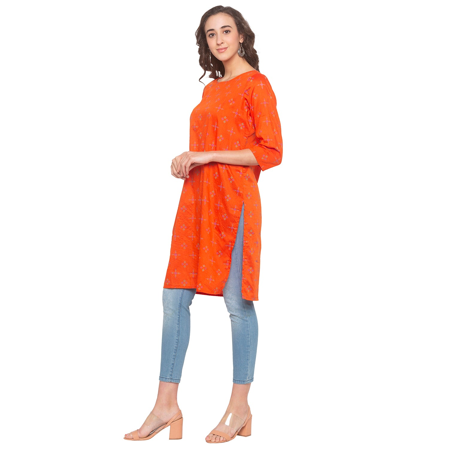 Orange Printed Kurta-2