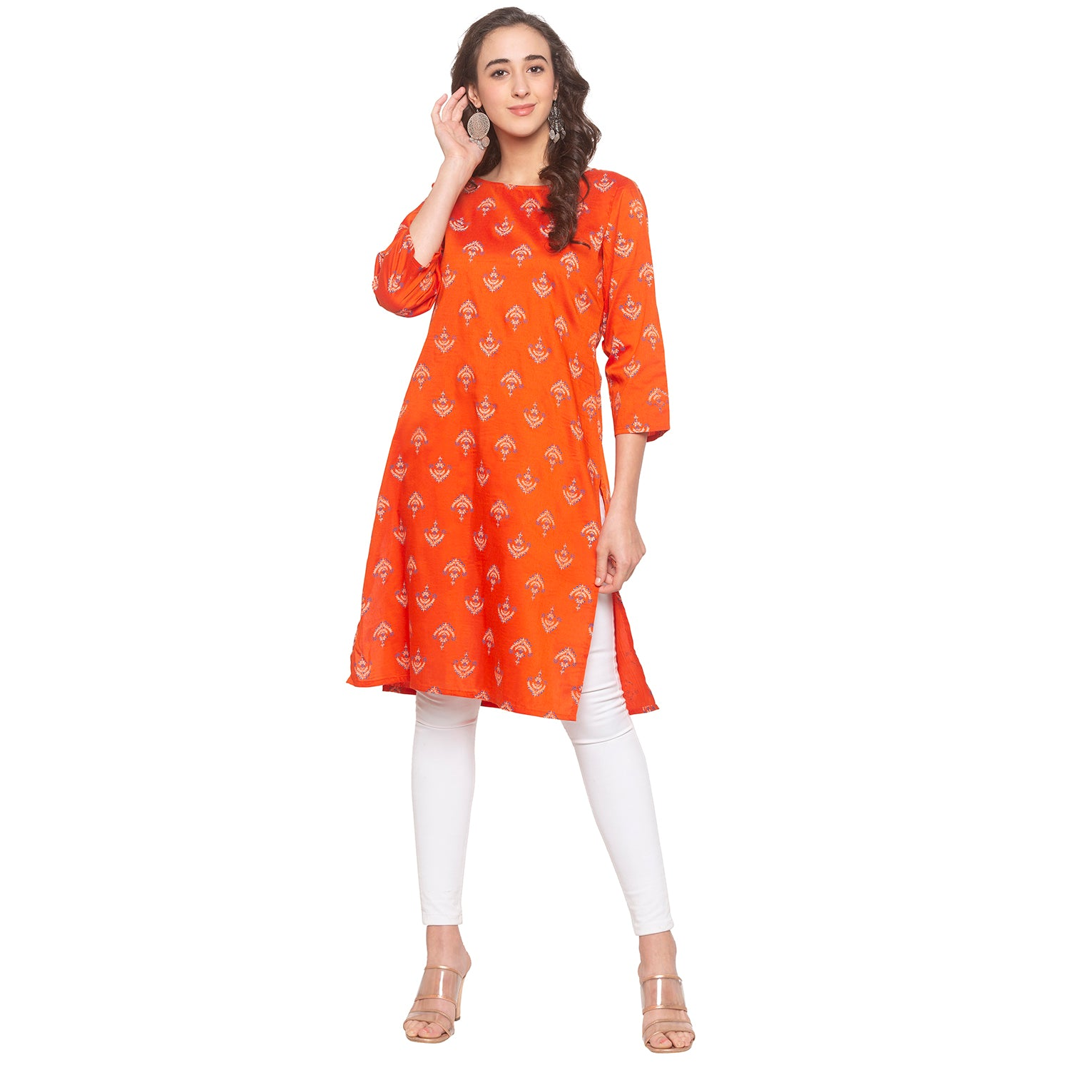 Orange Printed Kurta-1