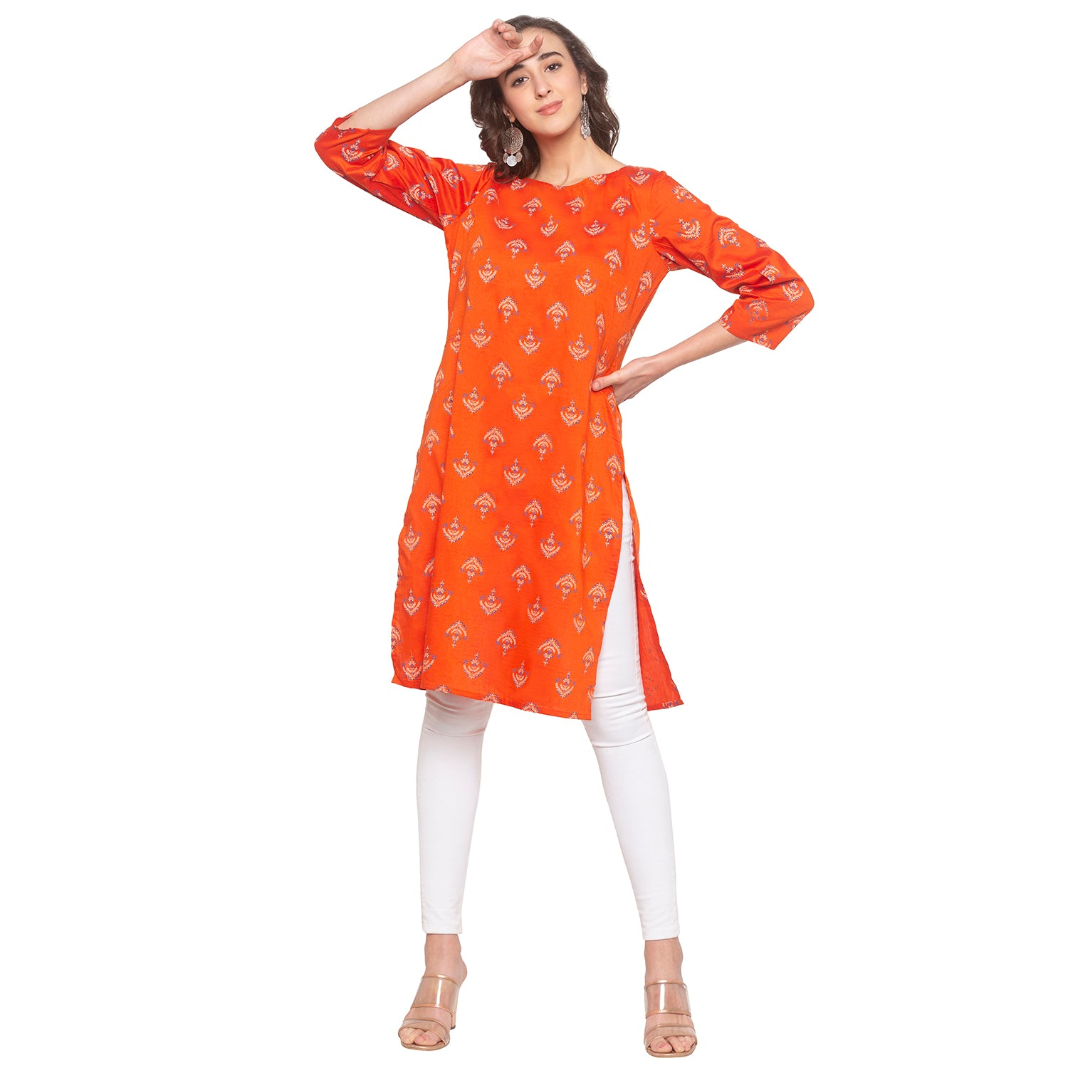 Orange Printed Kurta-4