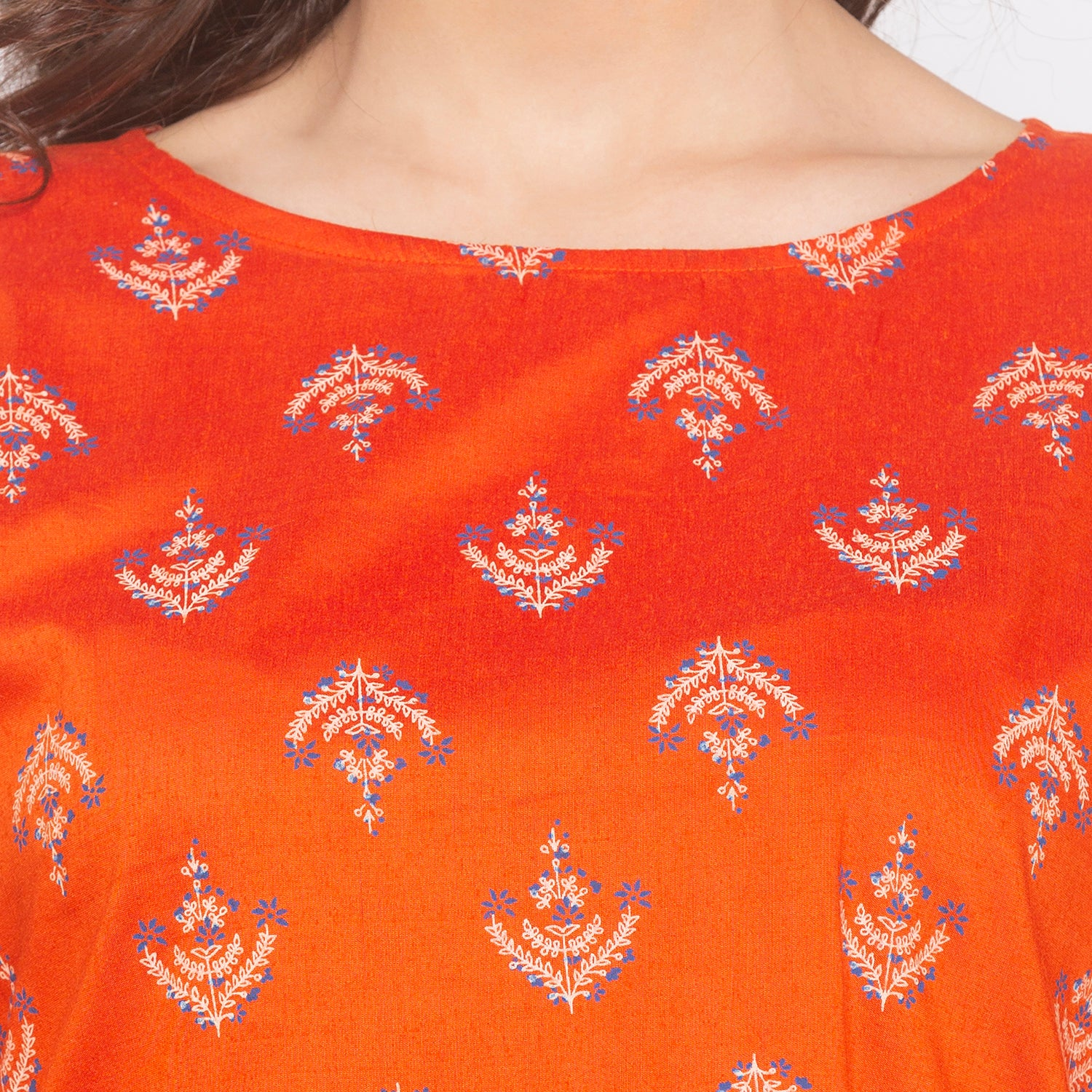 Orange Printed Kurta-5