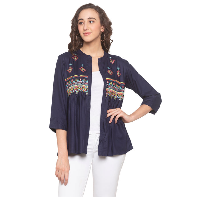 Navy Blue Printed Shrug-1